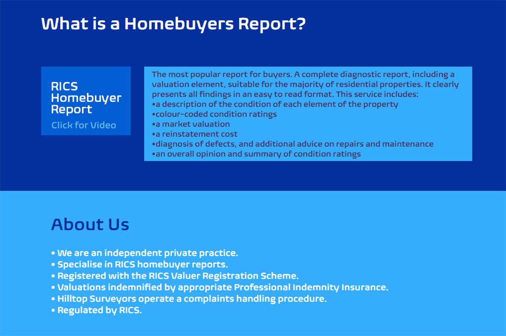 Hilltop Surveyors Website design - Homebuyers report and About sections
