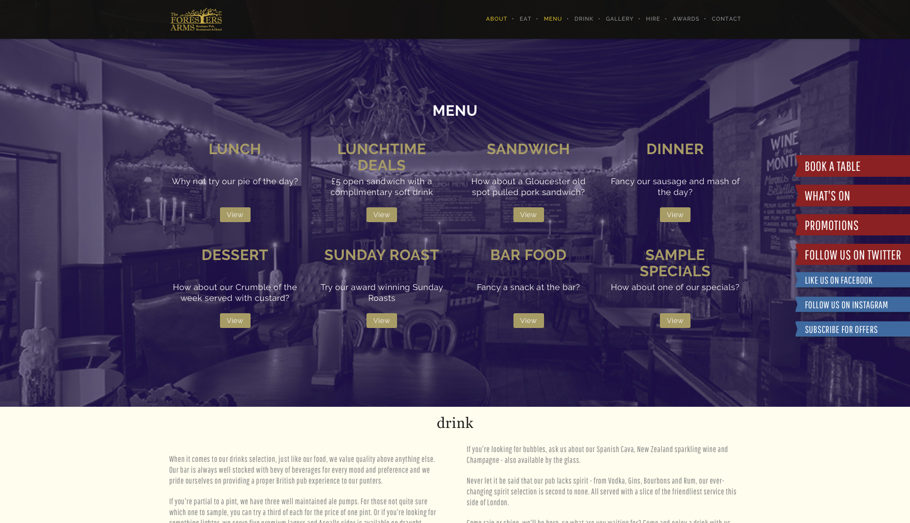 Menu section from the foresters website