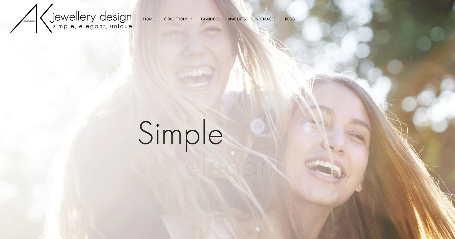 AK Jewellery homepage design by Collective Creative