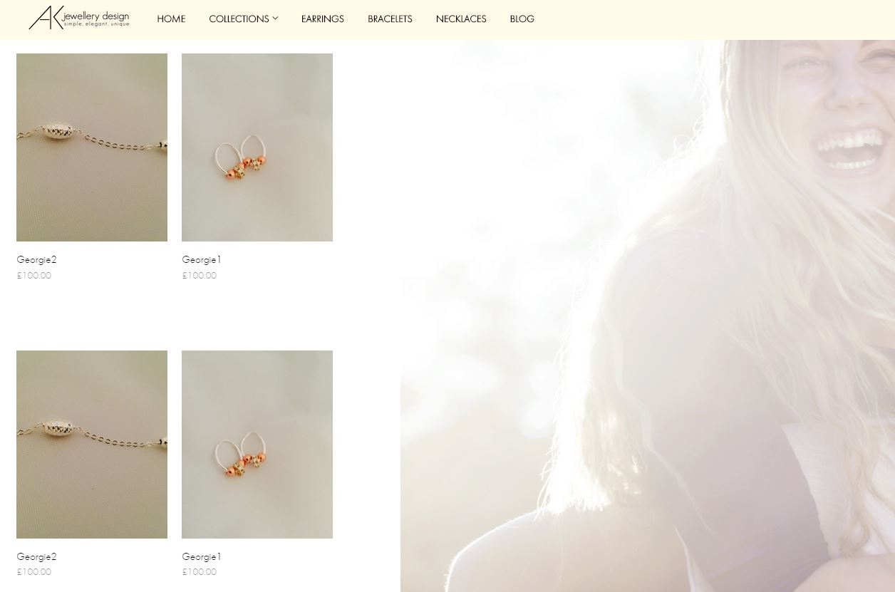 AK Jewellery shop product pages for web design
