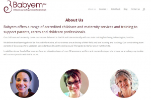 About Us page for Babyem website redesign