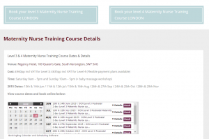 Course Booking page Babyem website redesign