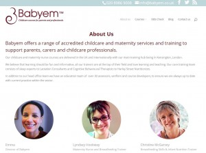 Babyem website redesign 'About Us' page
