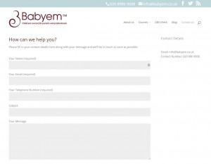Babyem web redesign contact form page