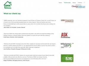 DNW Cleaning testimonial page