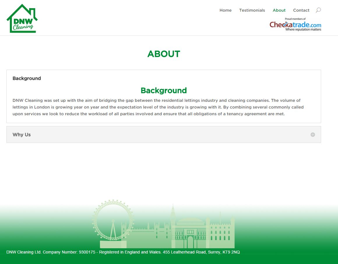 Web redesign for DNW Cleaning - About Page