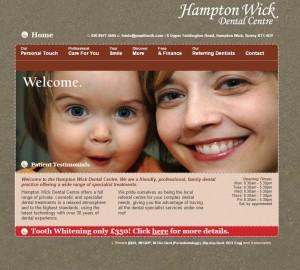 Homepage for Hampton Wick Dental Centre website design
