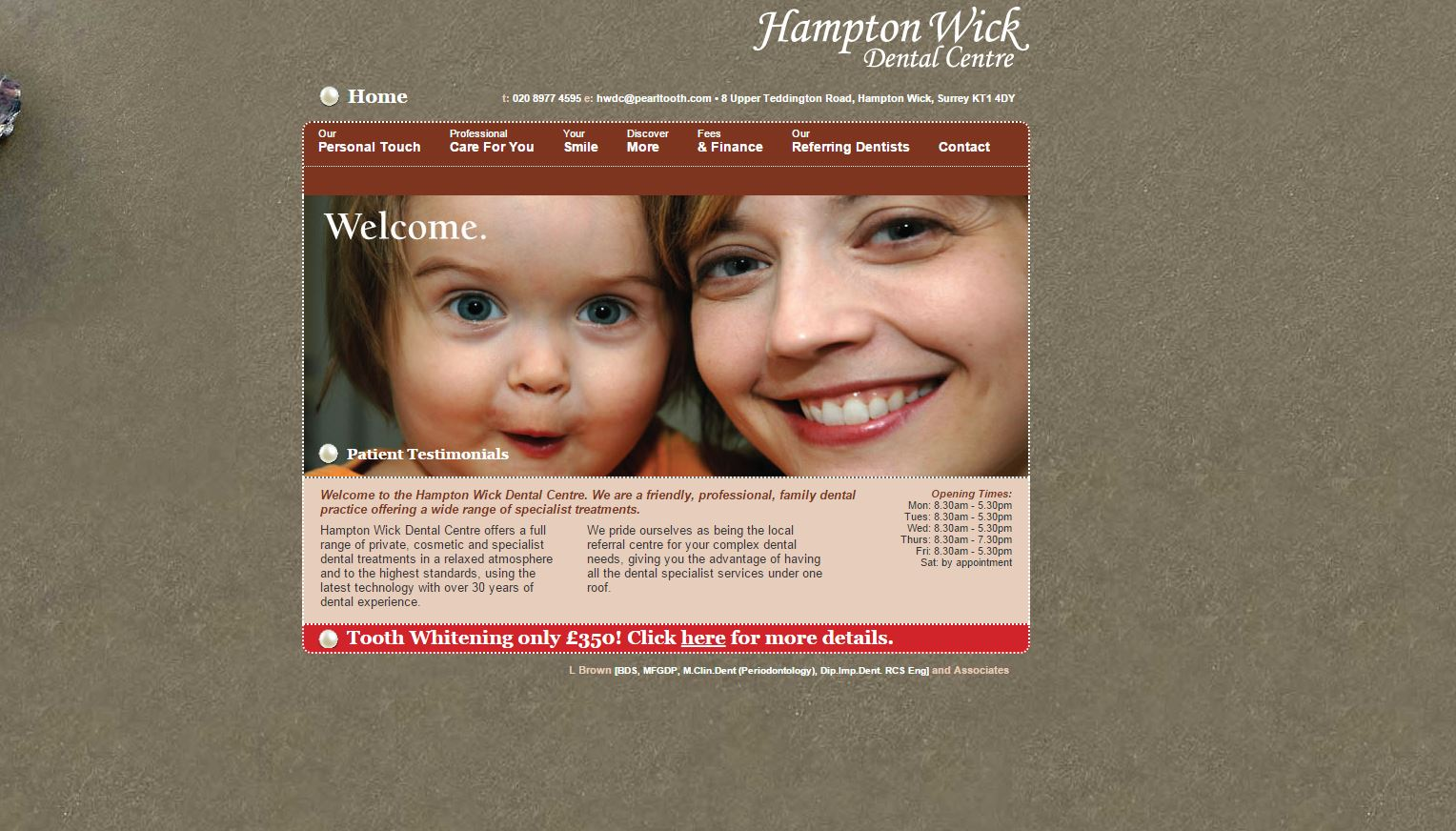 Hampton Wick Dental Centre Homepage Design