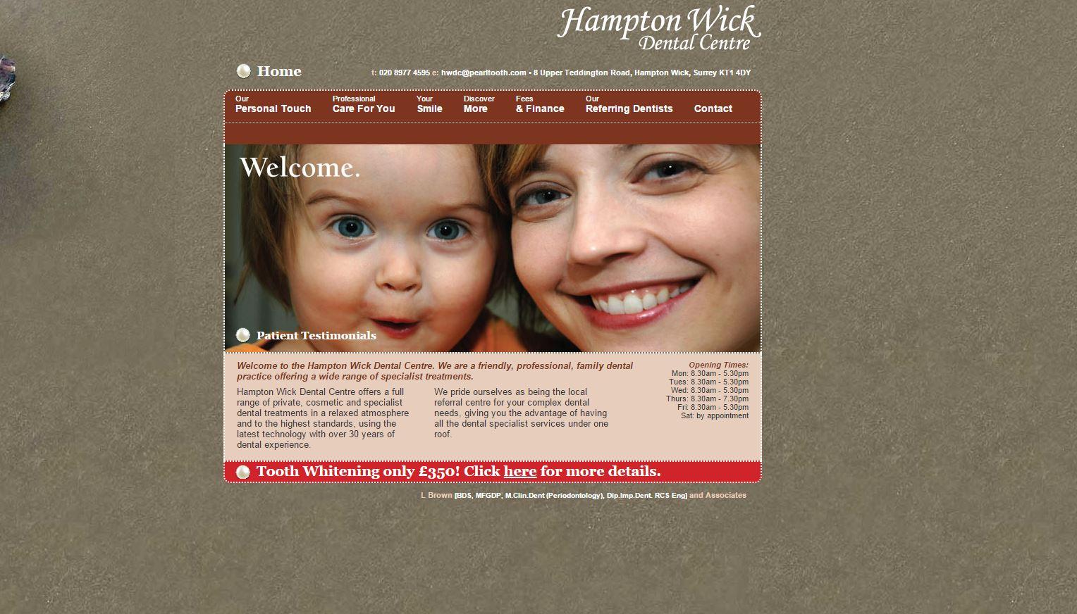 Hampton Wick Dental Centre Homepage Design