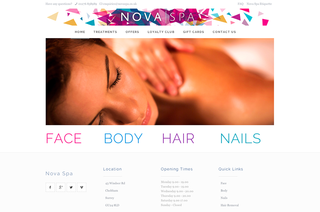 Nova spa website design and build by collective digital