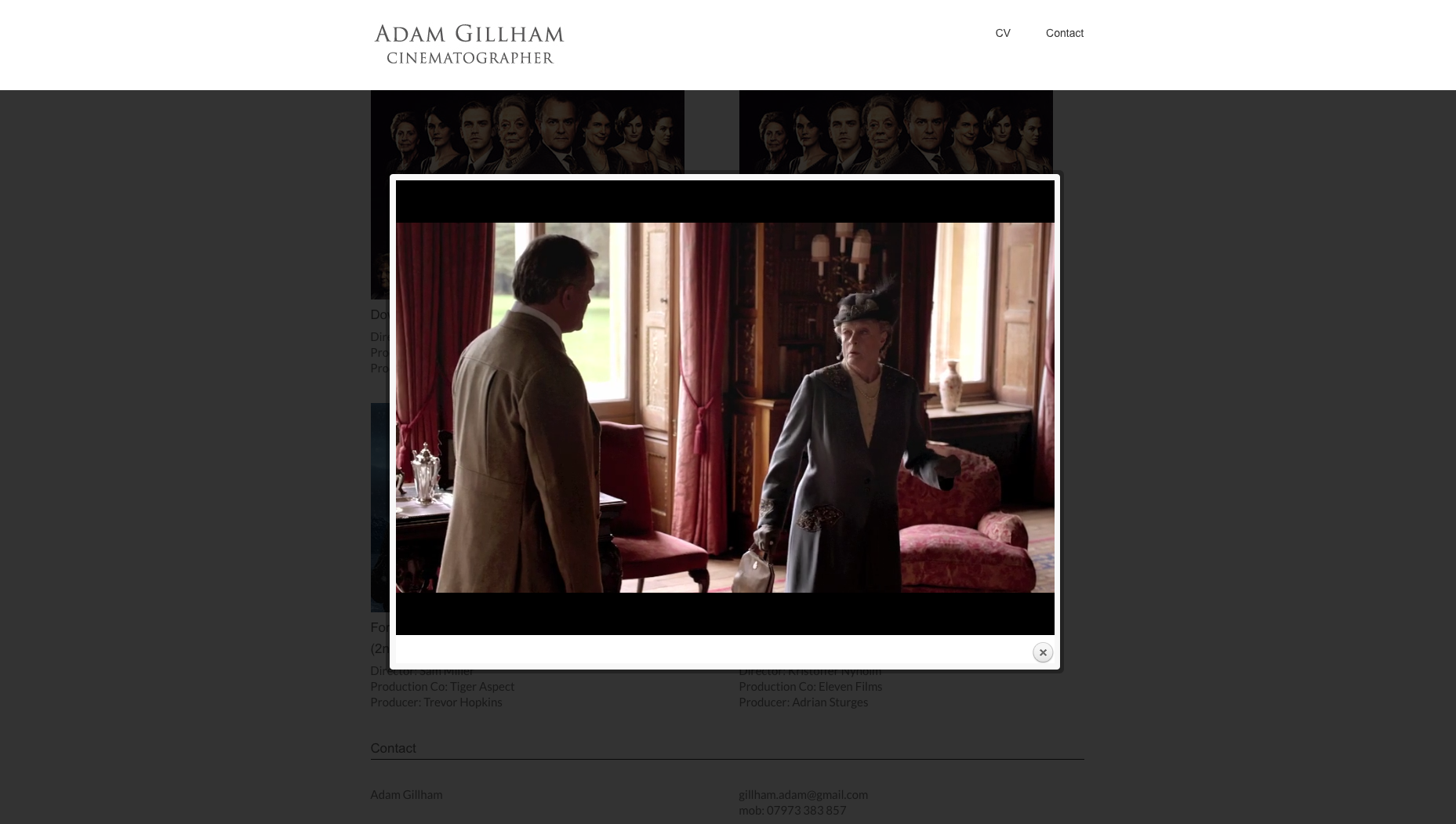 Adam Gillham website design and build by collective digital
