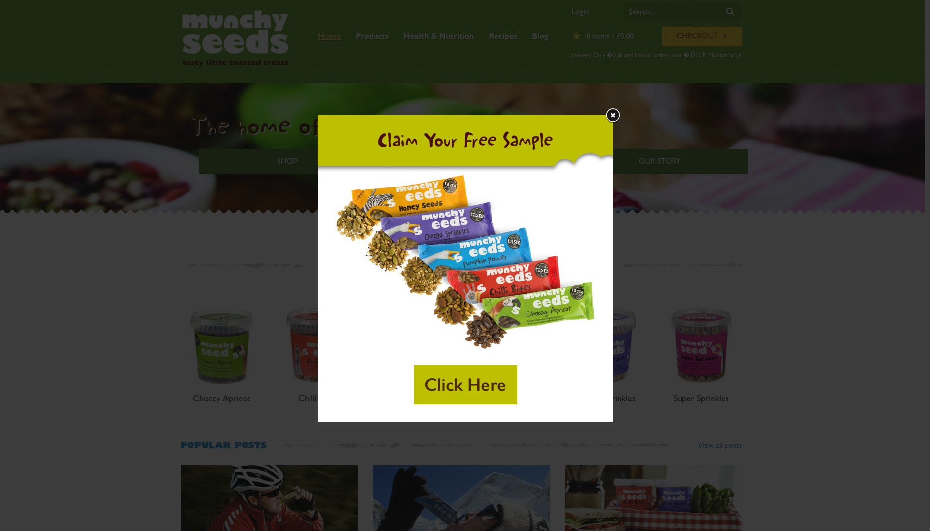 Munchy seeds website popup