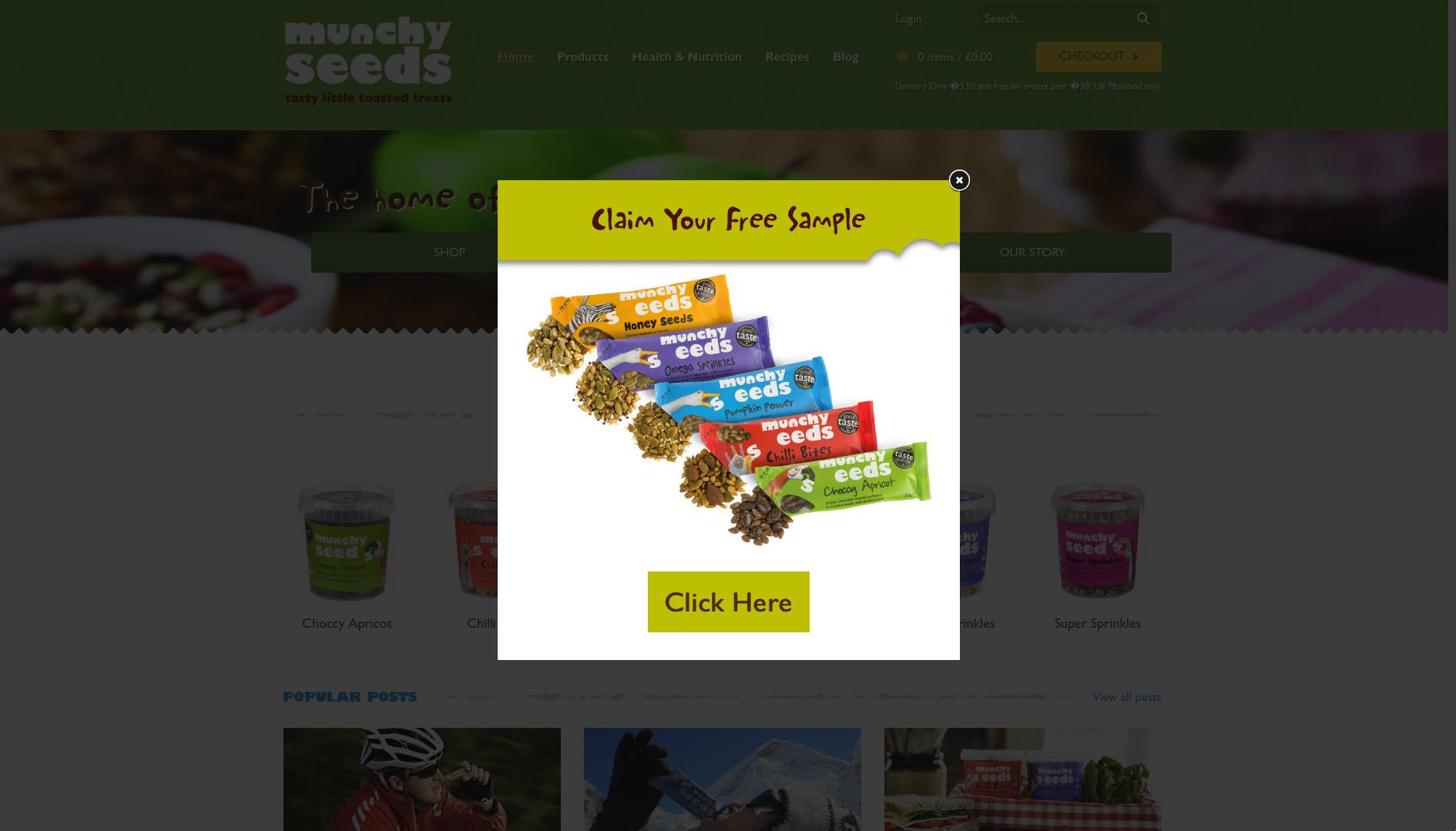 Munchy seeds website popup
