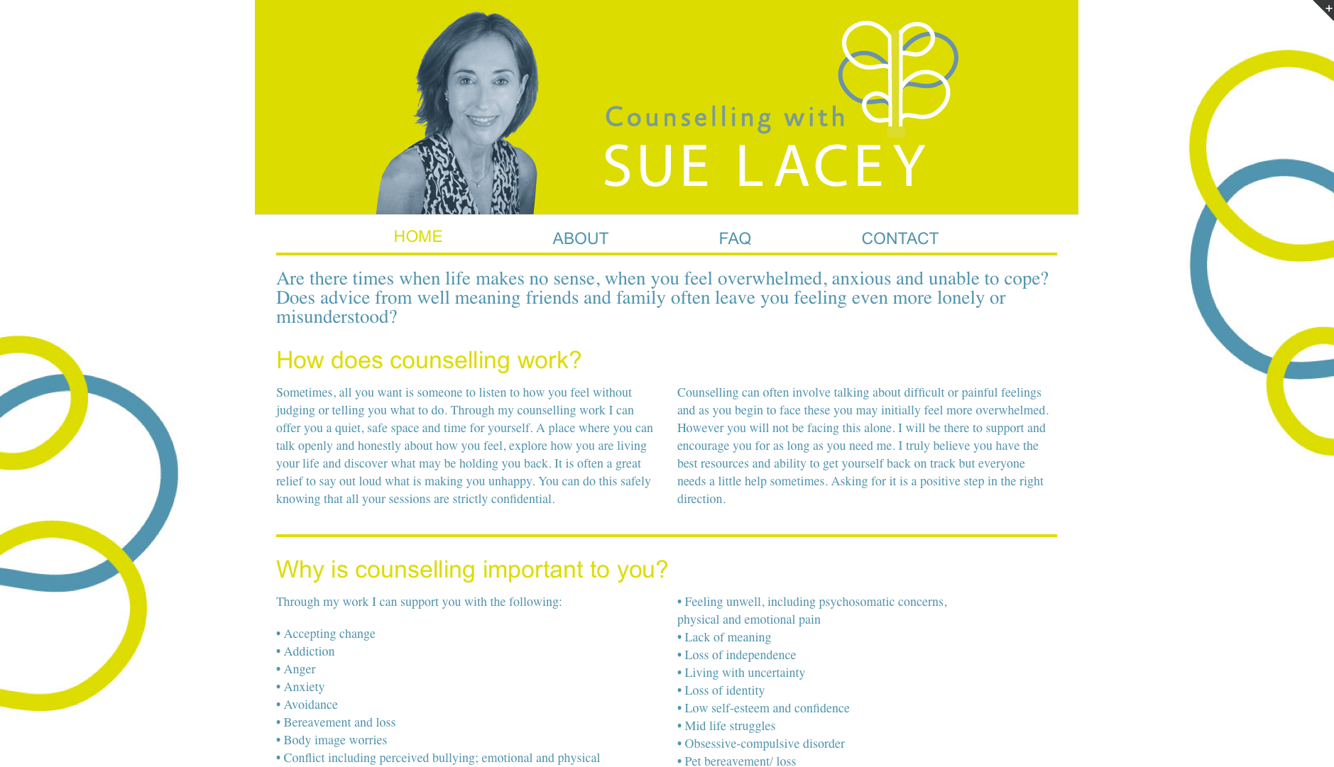 Sue Lacey Counselling Website Homepage