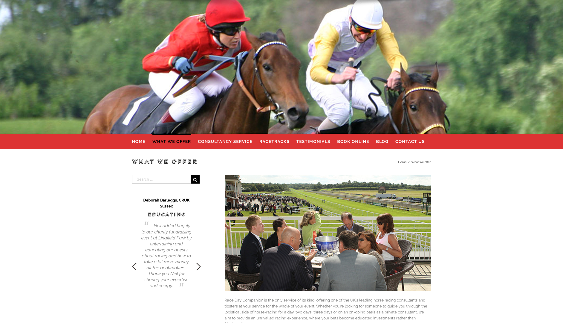 raceday companion website design and build by collective digital