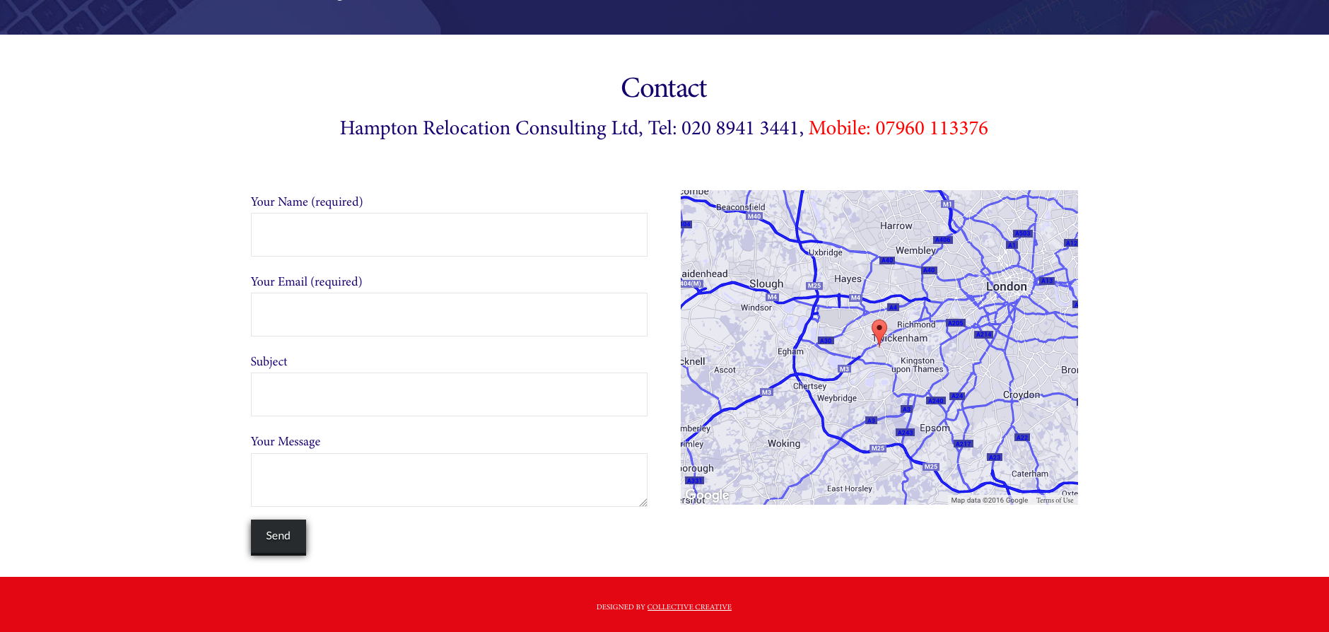 Hampton Relocation website contact section