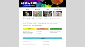 Dot's Doers Pet Care Services one page website design