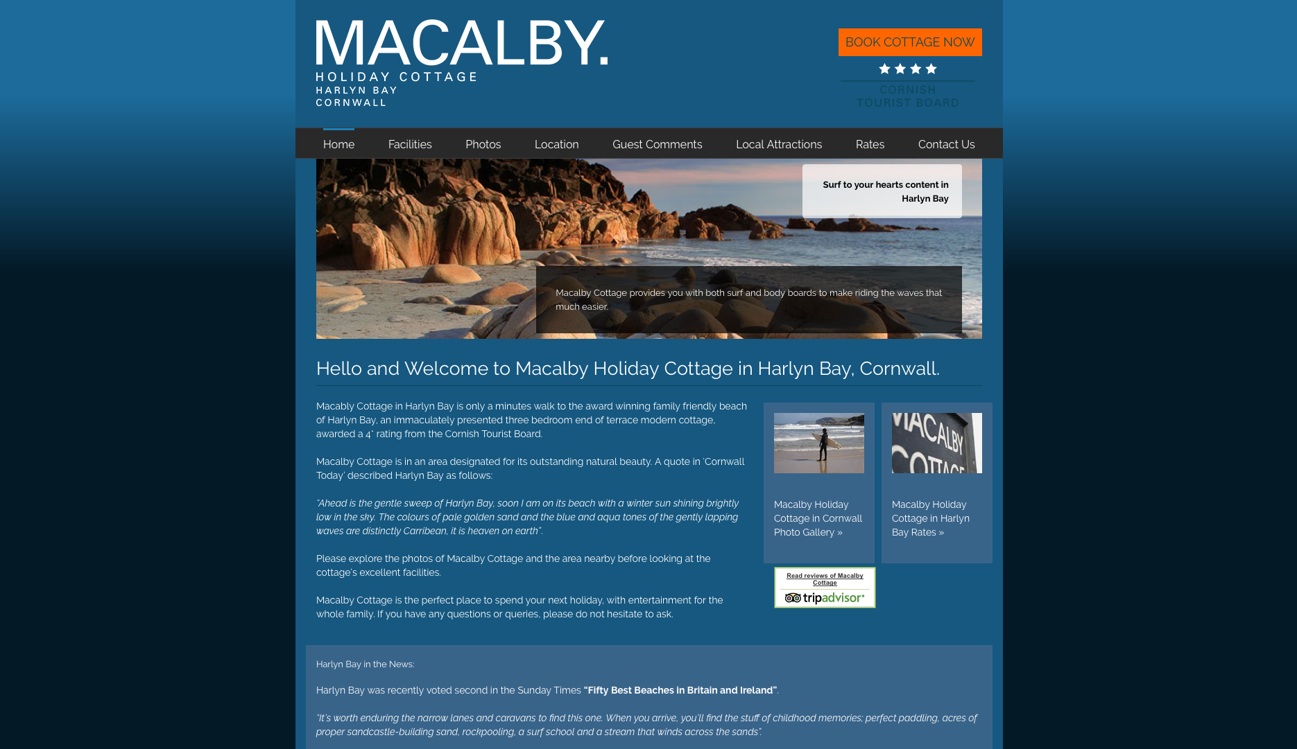 Macalby Cottage, Harlyn Bay Cornwall Homepage