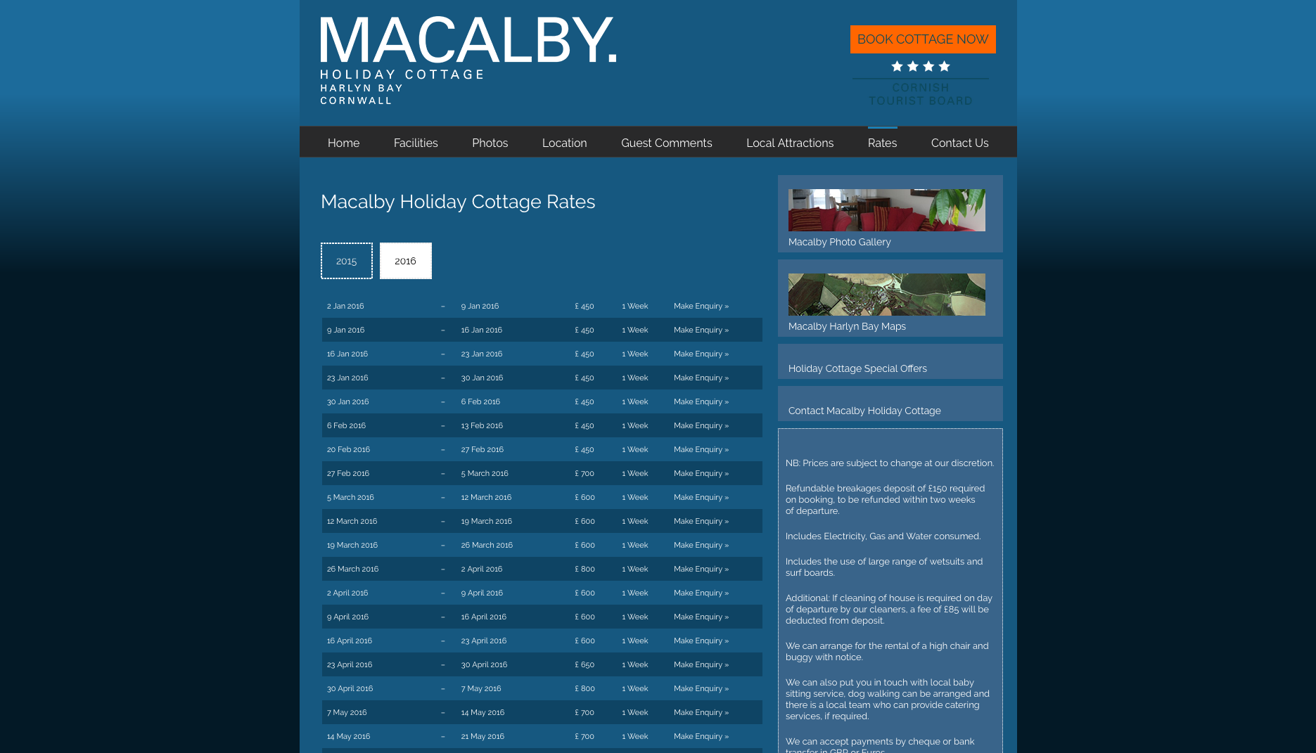 Macalby Cottage website rates page