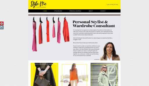 Style-me Home page website design and build by collective creative