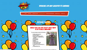 Awesome Kids Birthday Parties webpage design