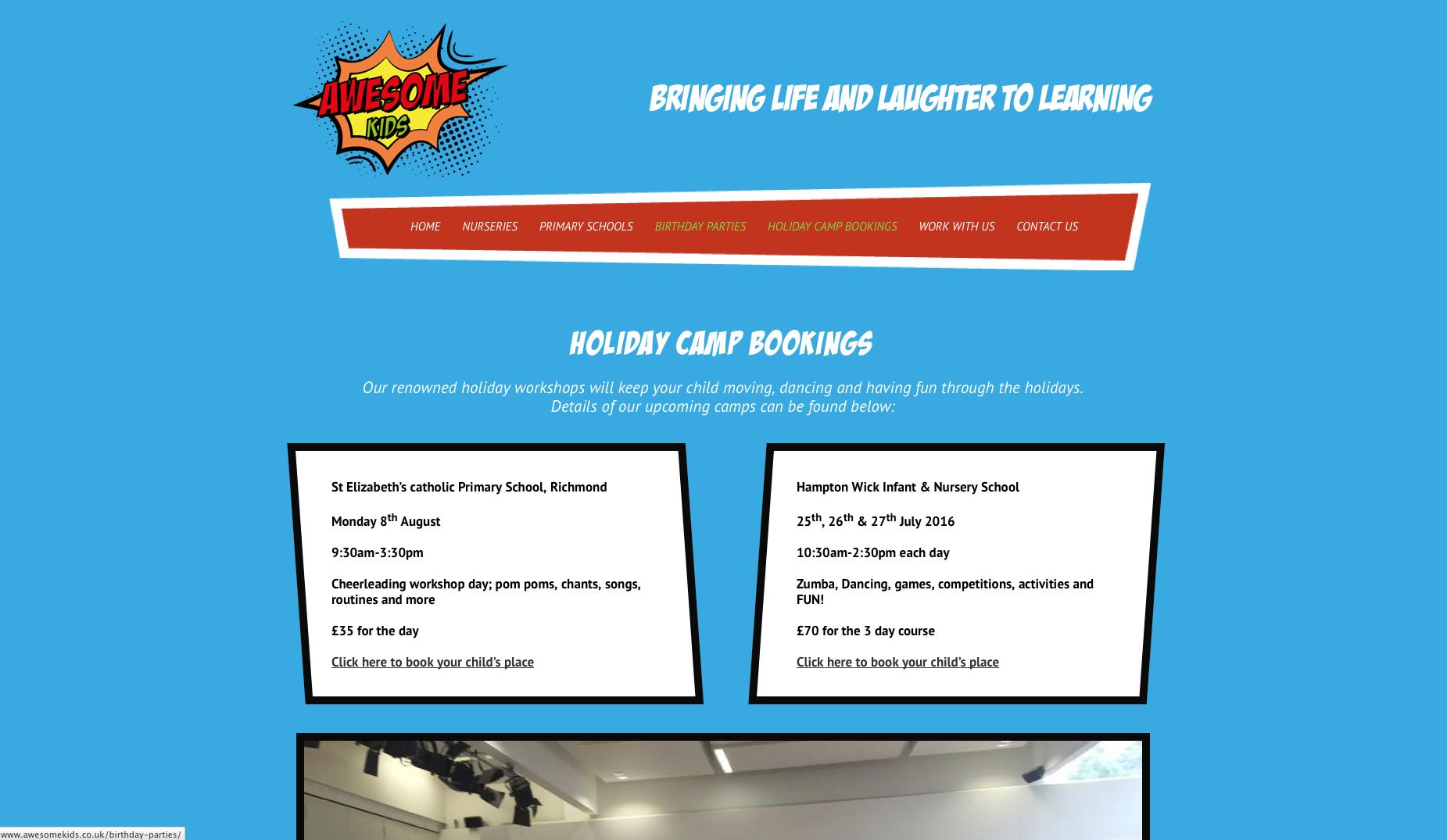 Awesome Kids Holiday Camp webpage screenshot