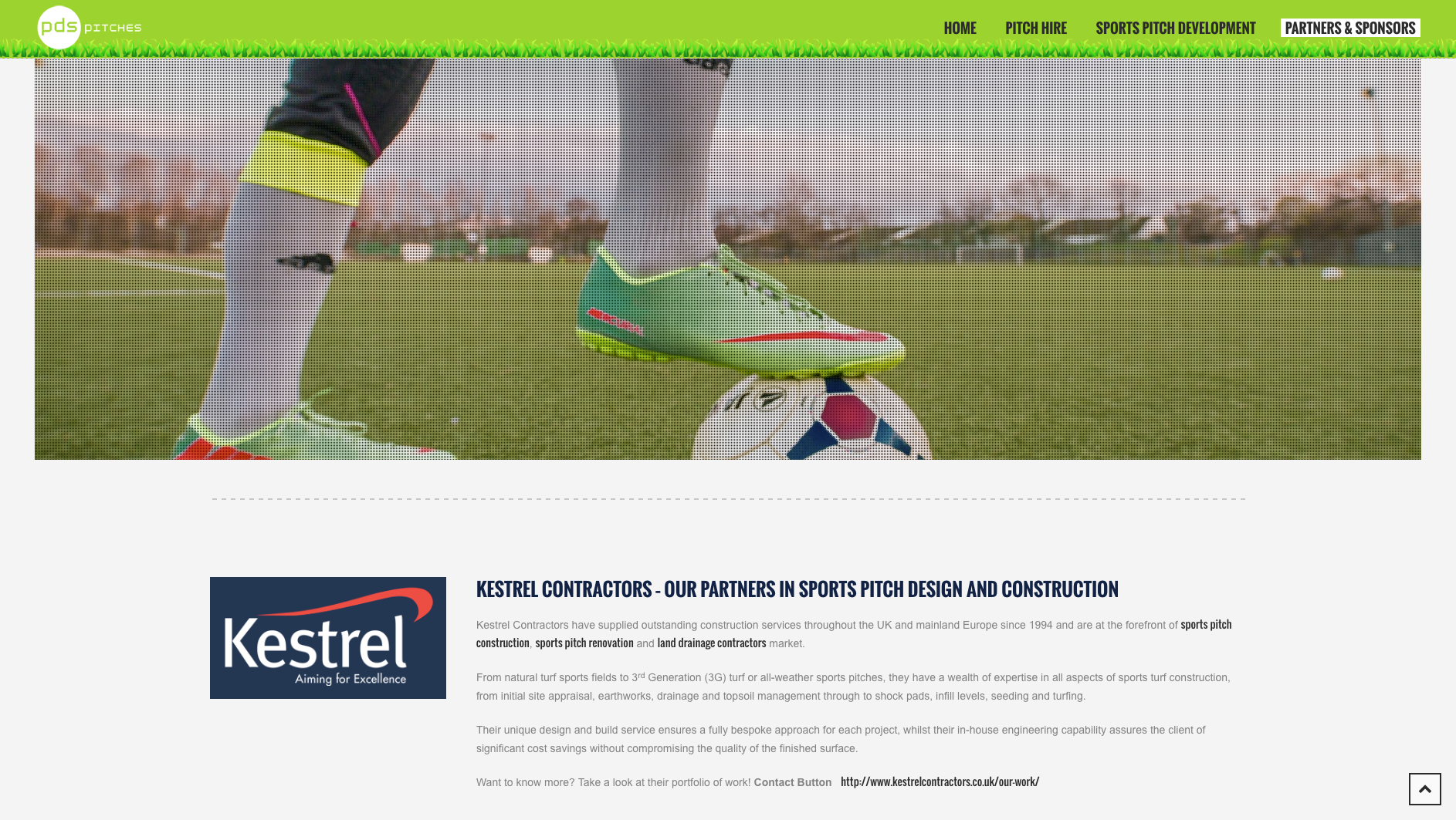 Partners and Sponsors page design for PDS Pitches