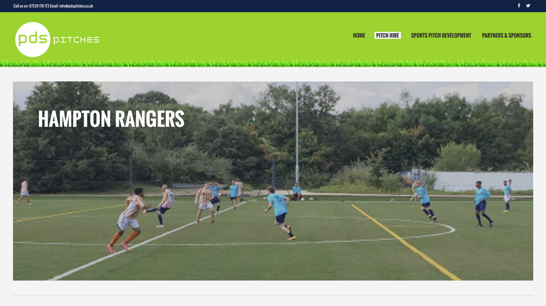 Hampton Pitch Hire banner for PDS Pitches location page by Collective Digital