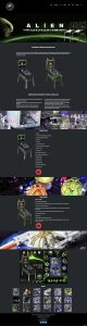 Alien webpage design for Heighway Pinball