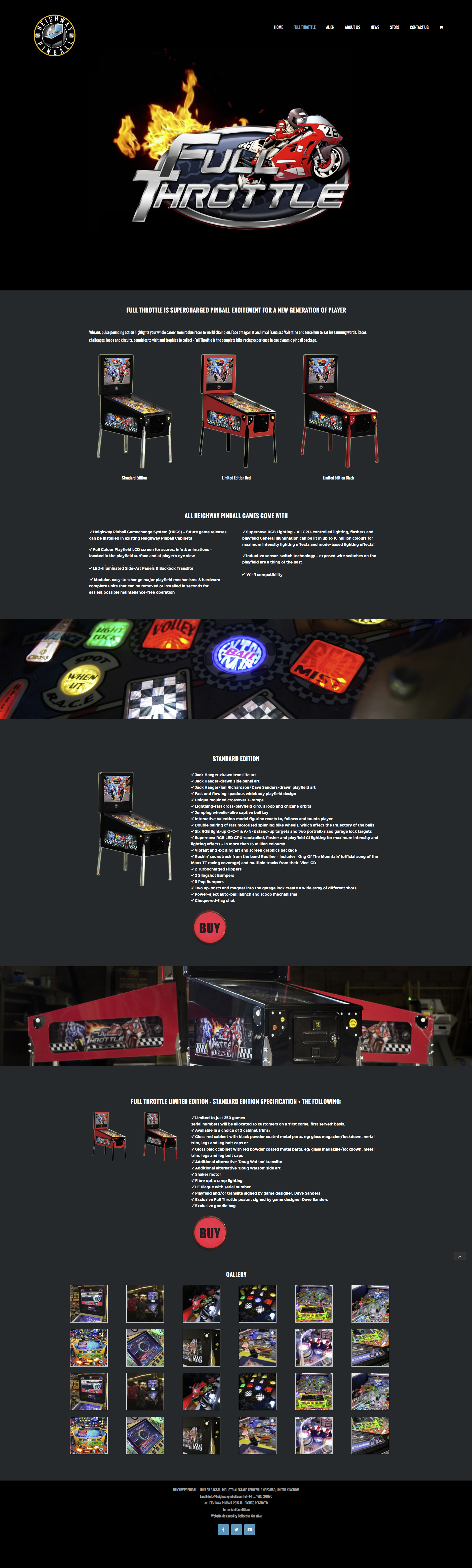 Full Throttle webpage design for Heighway Pinball