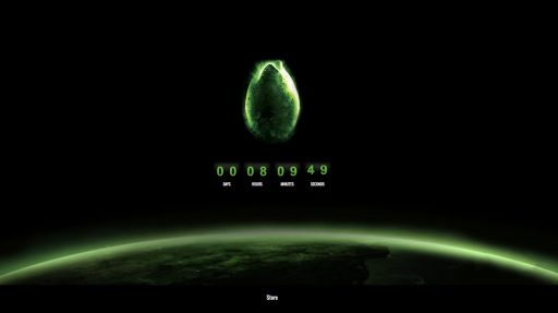 Coming Soon page with Alien style countdown clock and egg