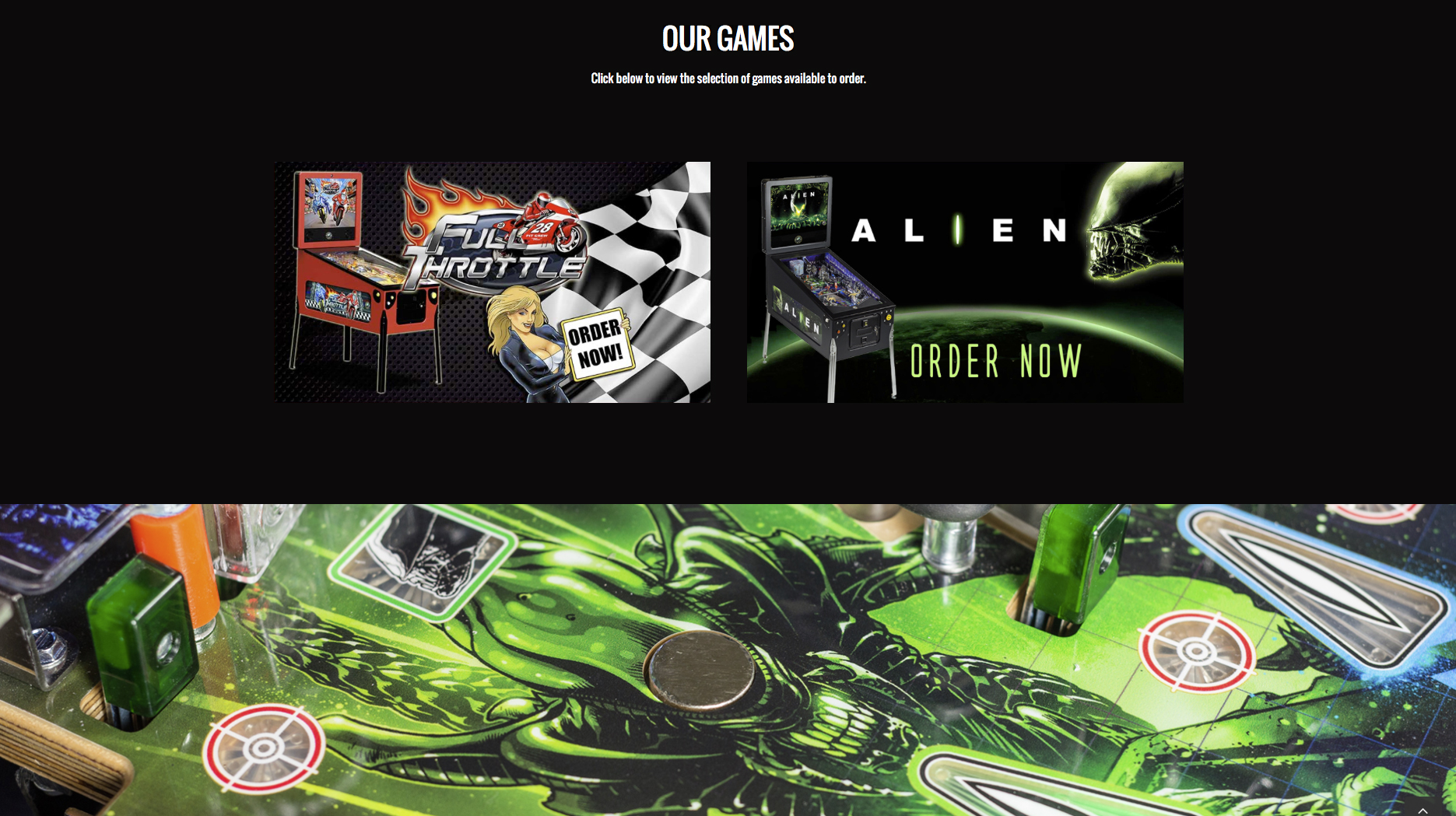 'Our Games' section web design for Heighway Pinball