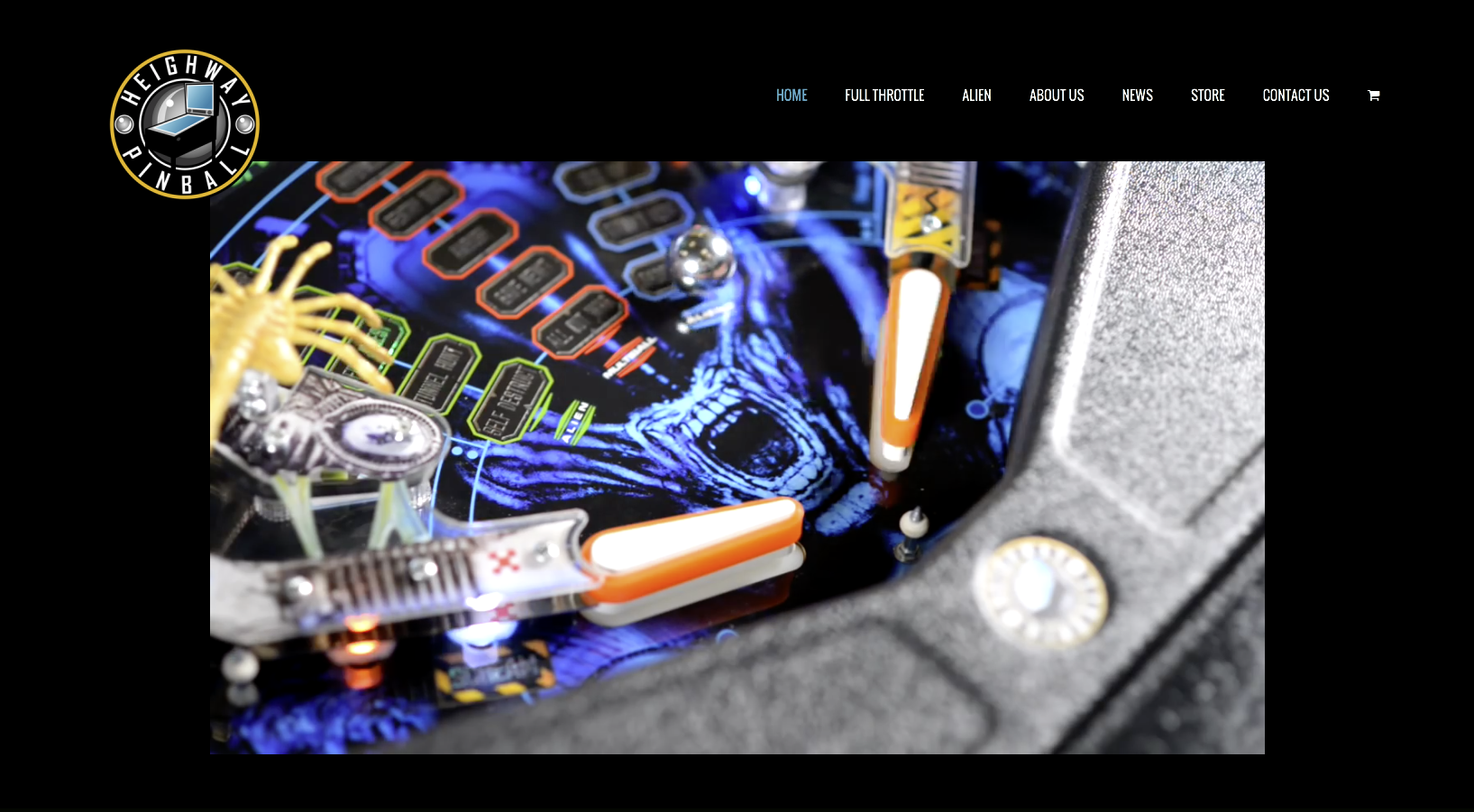 Heighway Pinball homepage design with Alien Pinball Video embed
