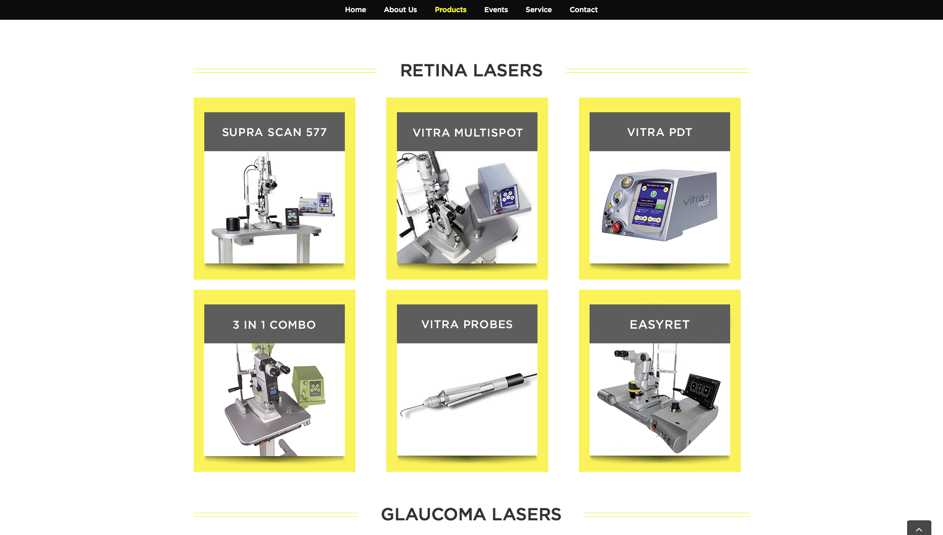 Retina Lasers Product page design for Daybreak Medical website re-design