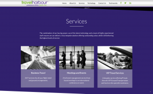 Services page from travel harbour website