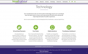 Technology page from travel harbour website