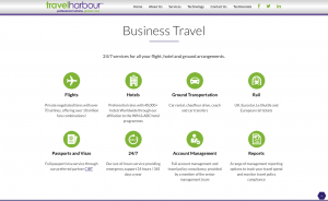Business travel page from travel harbour website