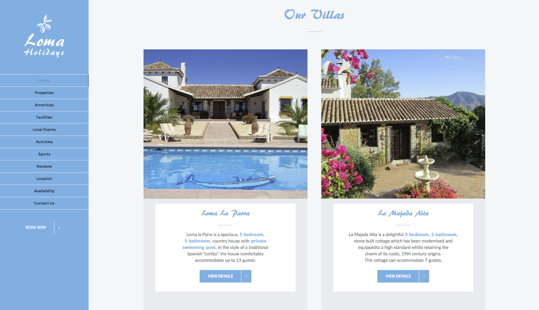 Loma Holidays Homepage design