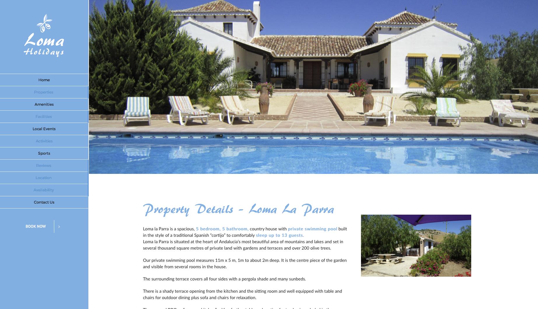 Loma Holidays Main Villa page website design screenshot