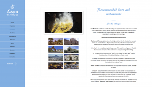 Recommended bars and restaurants page from Loma Holidays website