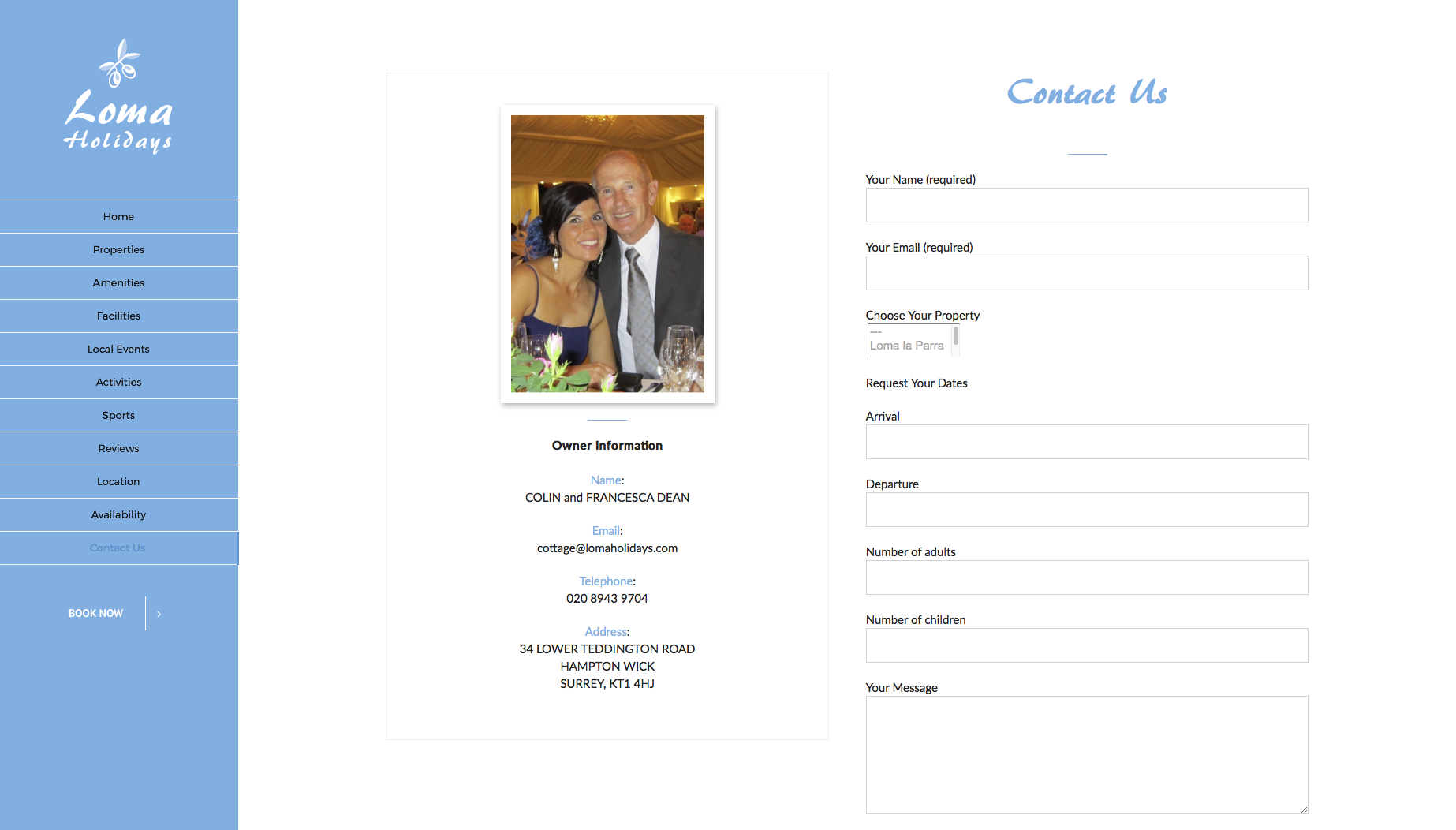 Contact page for Loma Holidays website design