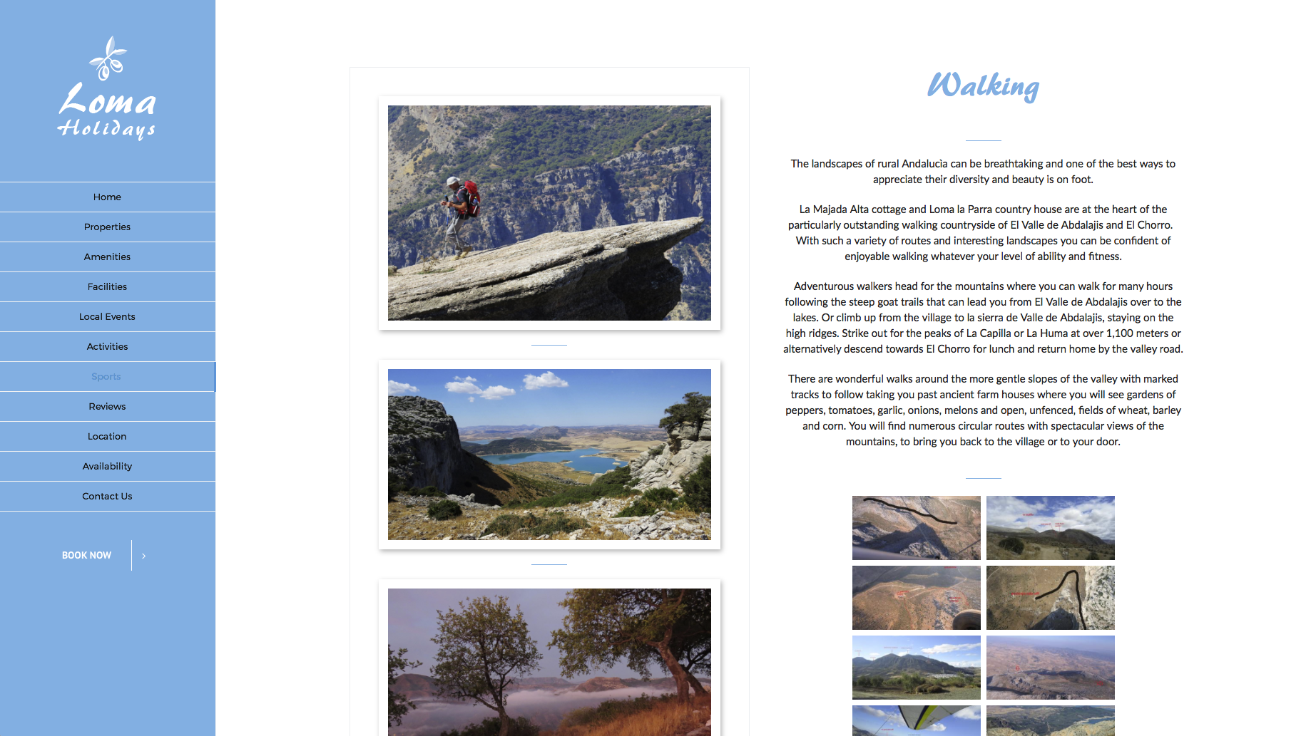 Screenshot of Walking page from Loma holidays website design