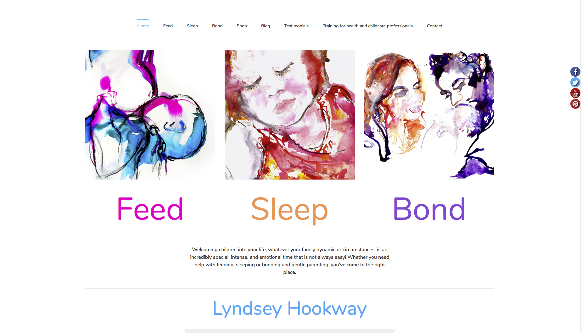 Home page from feed sleep bond website