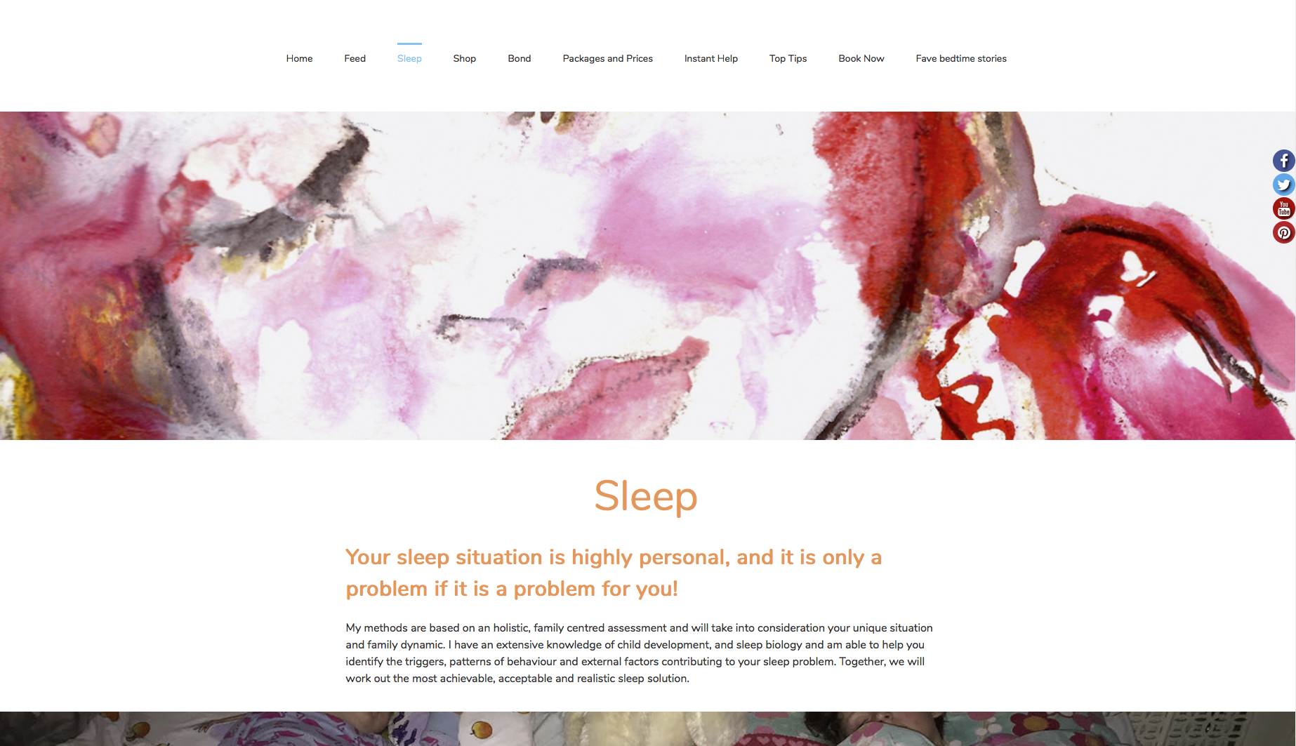 Sleep page from feed sleep bond website