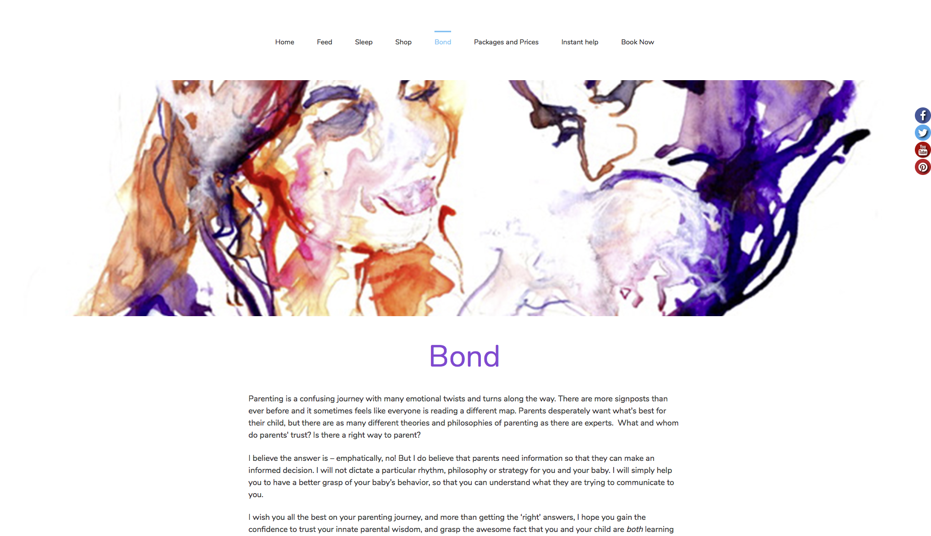 Bond page from feed sleep bond website