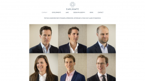 Screenshot of 'Company' page on Earlsgate website with team member images