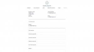 Contact form design for Earlsgate website