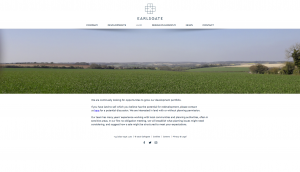 Screenshot of Earlsgate website 'Land' page - design by Collective Creative