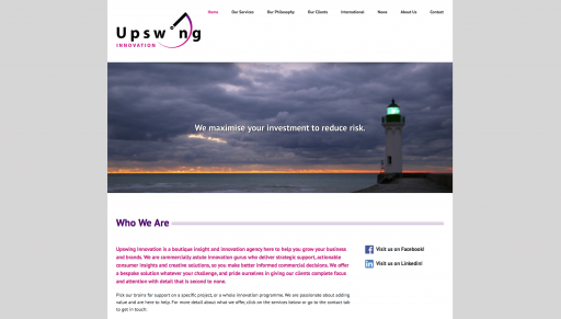 Screenshot of Upswing Innovation homepage