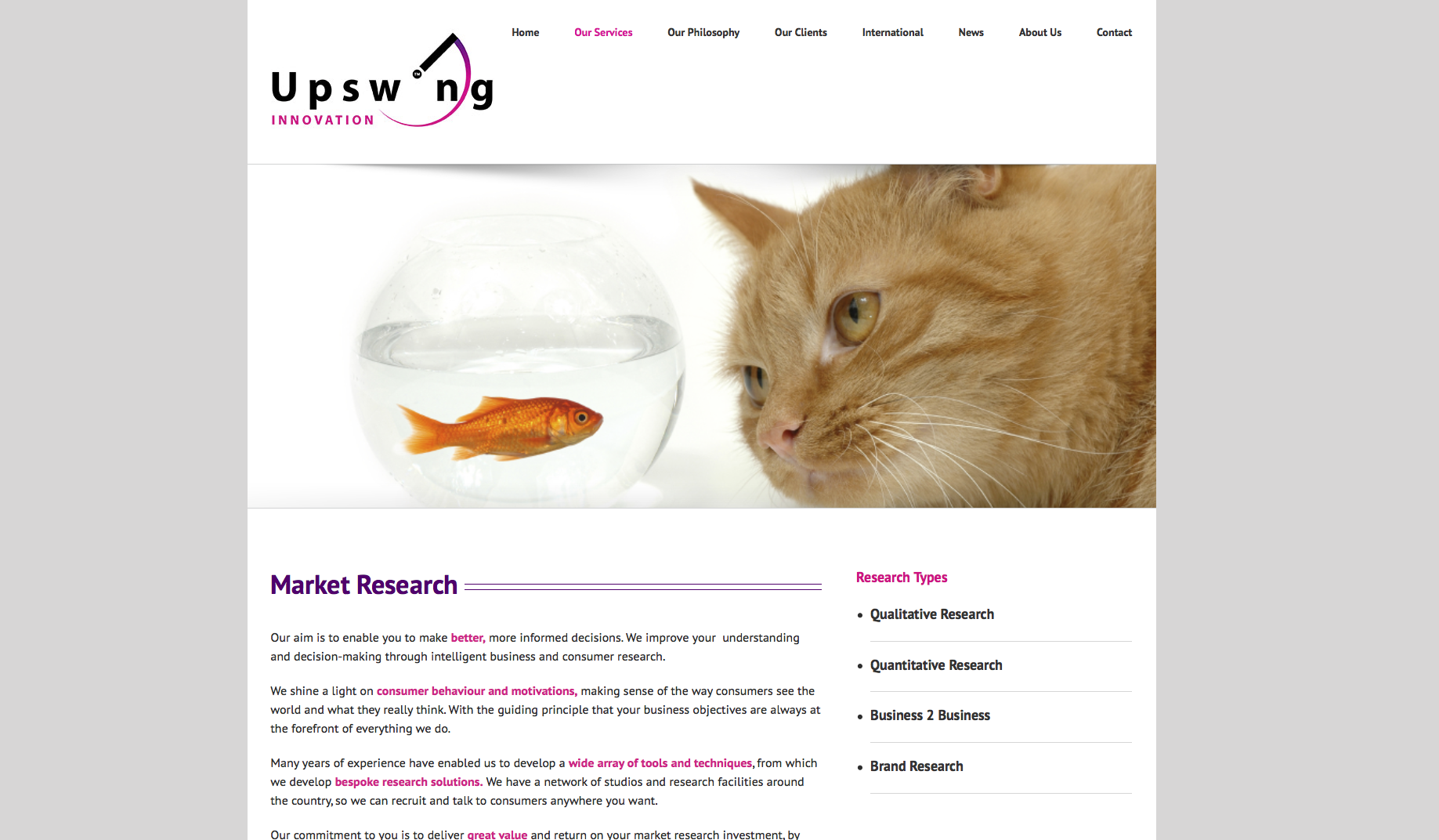Market Research page design for Upswing Innovation